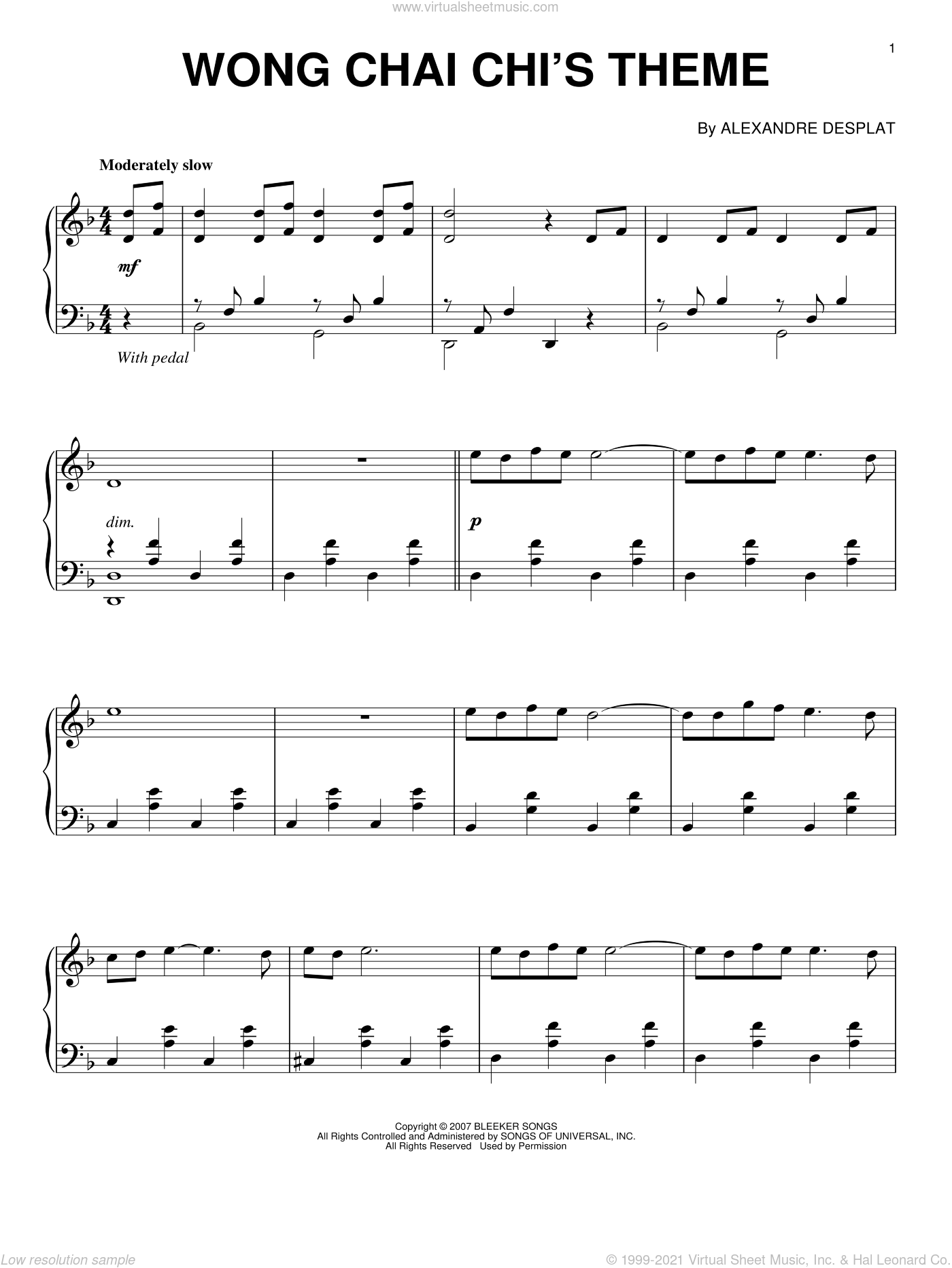 Wong Chia Chi's Theme sheet music for piano solo by Alexandre Desplat and Lust, Caution (Movie), intermediate skill level