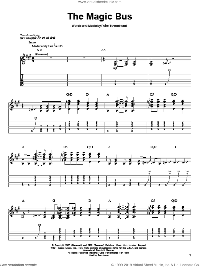 Magic Bus sheet music for guitar (tablature, play-along) by The Who and Pete Townshend. Score Image Preview.