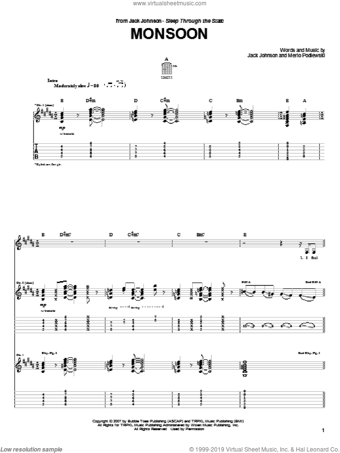 Monsoon sheet music for guitar (tablature) by Jack Johnson, intermediate. Score Image Preview.