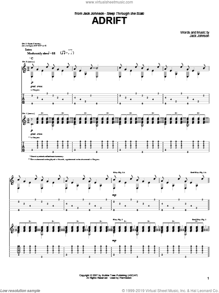 Adrift sheet music for guitar (tablature) by Jack Johnson. Score Image Preview.