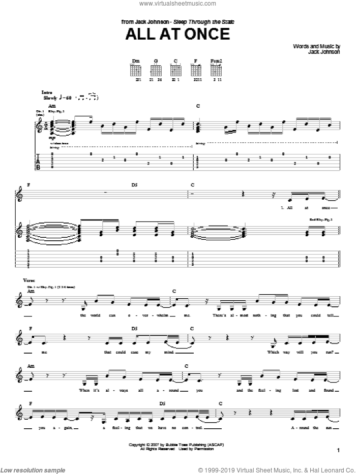 All At Once sheet music for guitar (tablature) by Jack Johnson, intermediate skill level