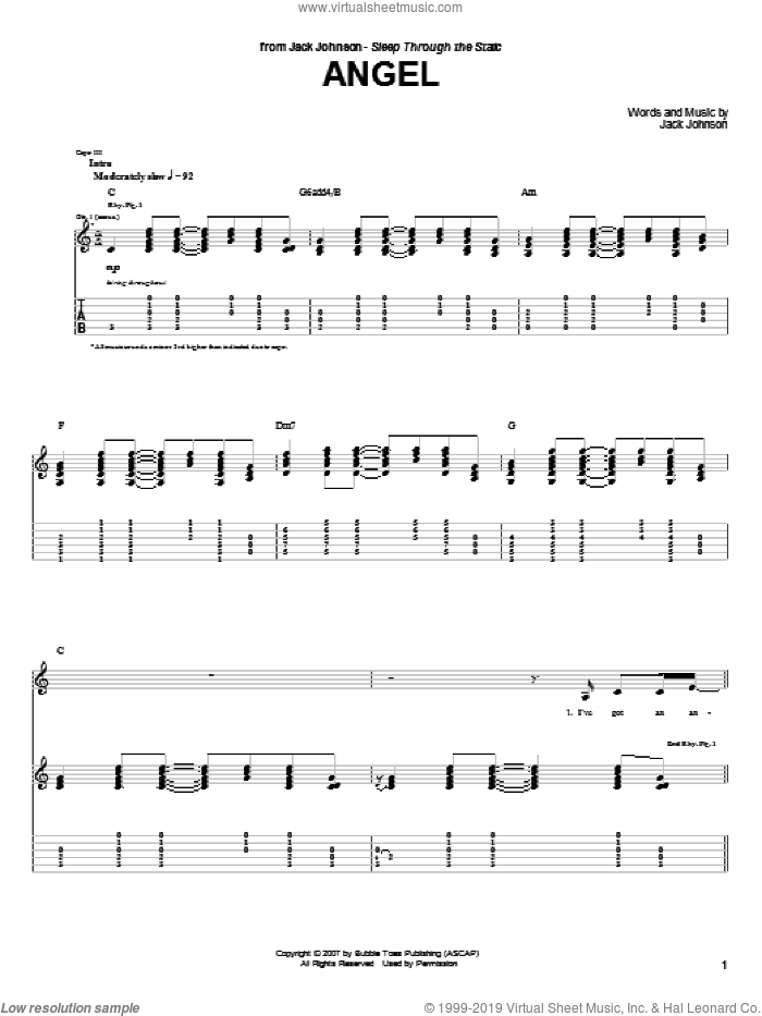 Angel sheet music for guitar (tablature) by Jack Johnson. Score Image Preview.