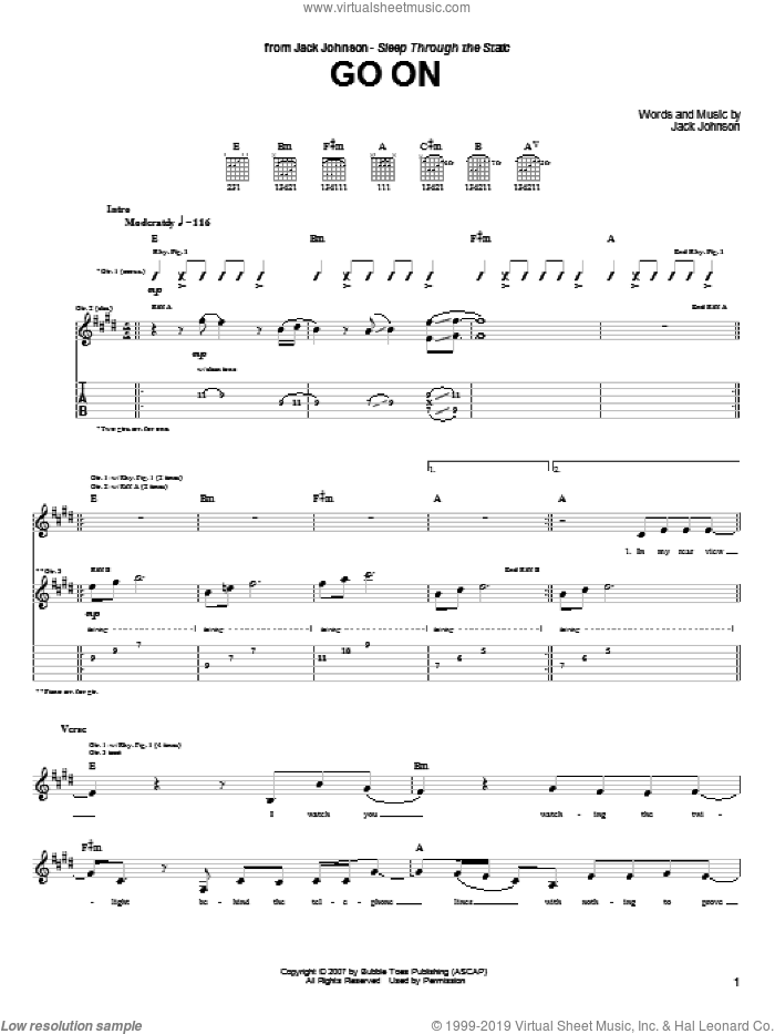 Go On sheet music for guitar (tablature) by Jack Johnson. Score Image Preview.