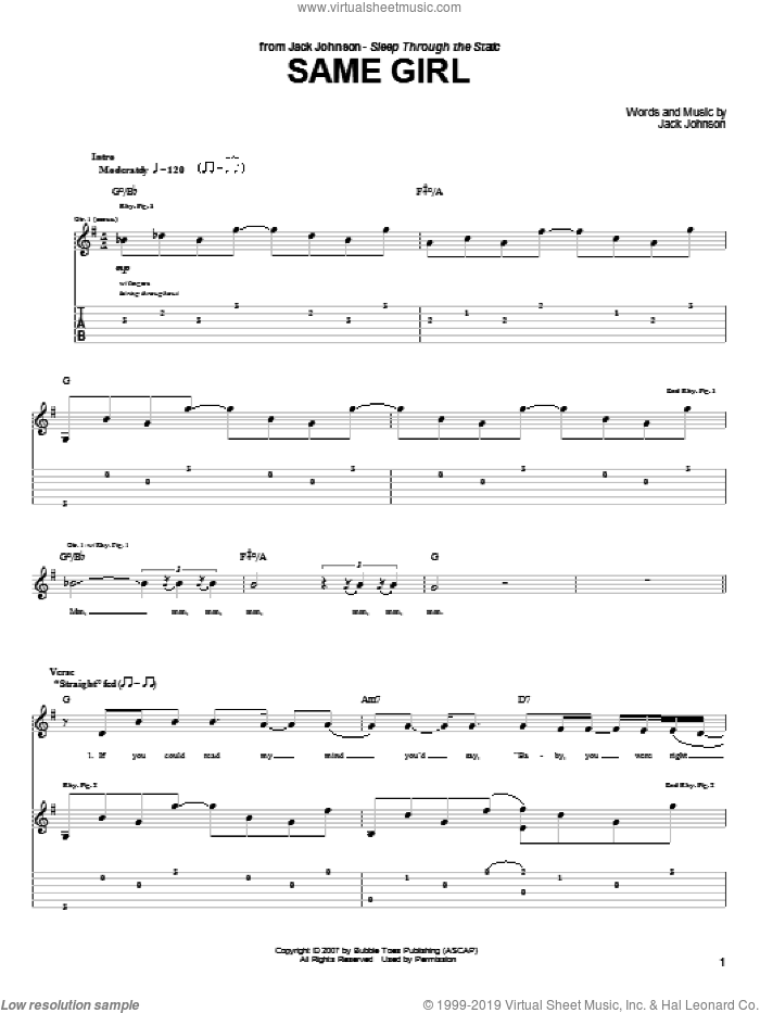 Same Girl sheet music for guitar (tablature) by Jack Johnson. Score Image Preview.