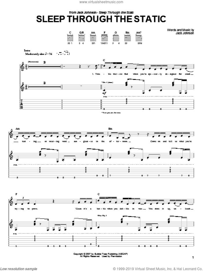 Sleep Through The Static sheet music for guitar (tablature) by Jack Johnson. Score Image Preview.