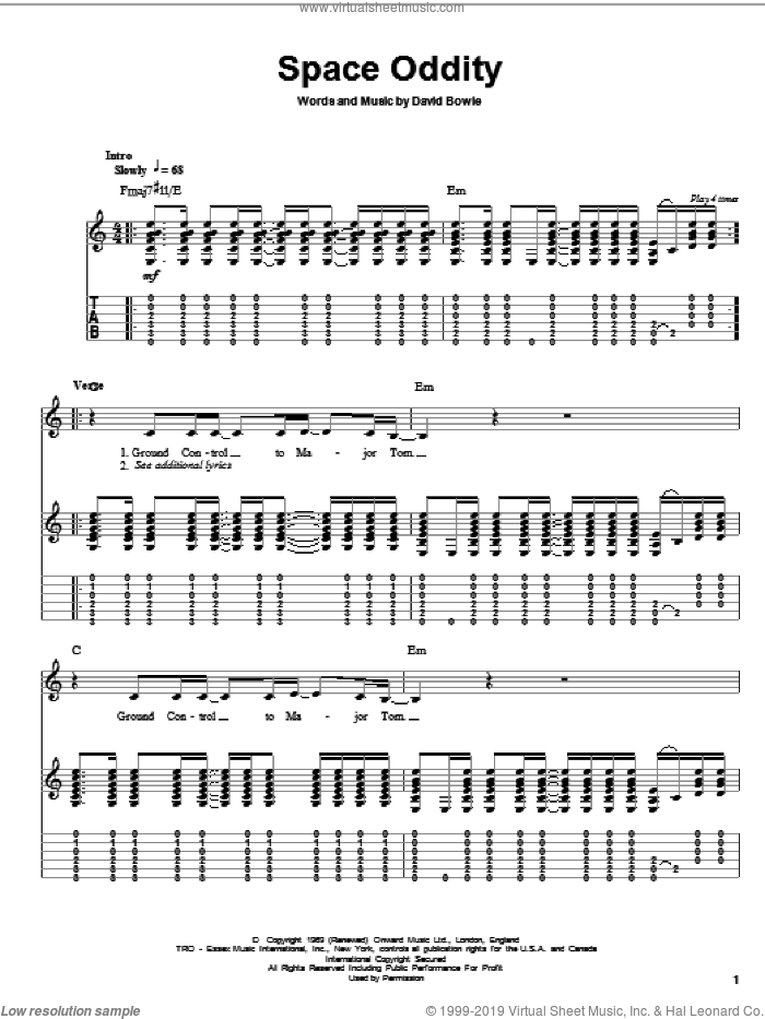 Space Oddity sheet music for guitar (tablature, play-along) by David Bowie, intermediate skill level