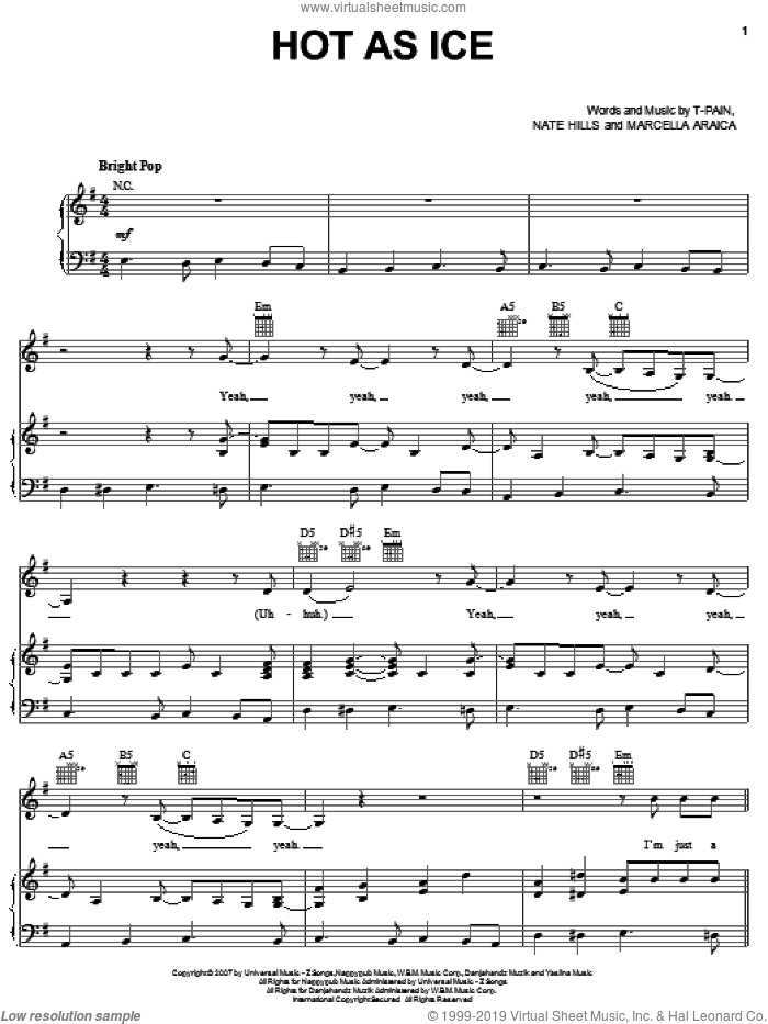 Hot As Ice sheet music for voice, piano or guitar by T-Pain, Britney Spears and Nate Hills. Score Image Preview.