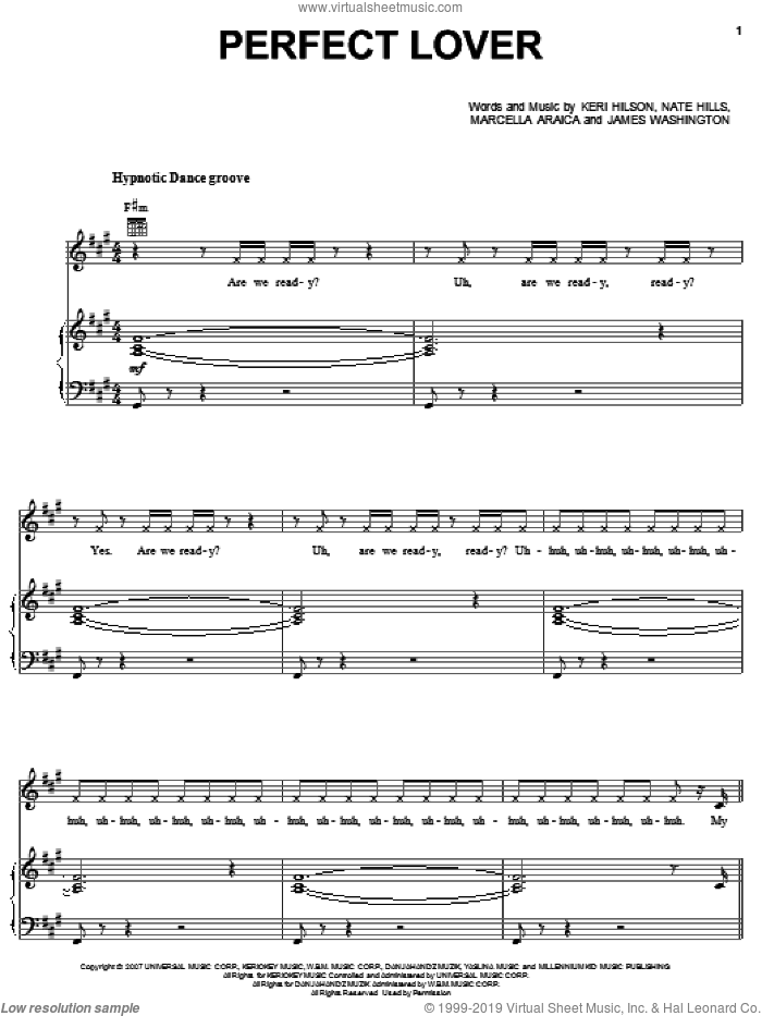 Perfect Lover sheet music for voice, piano or guitar by Britney Spears, James Washington, Keri Hilson, Marcella Araica and Nate Hills, intermediate skill level