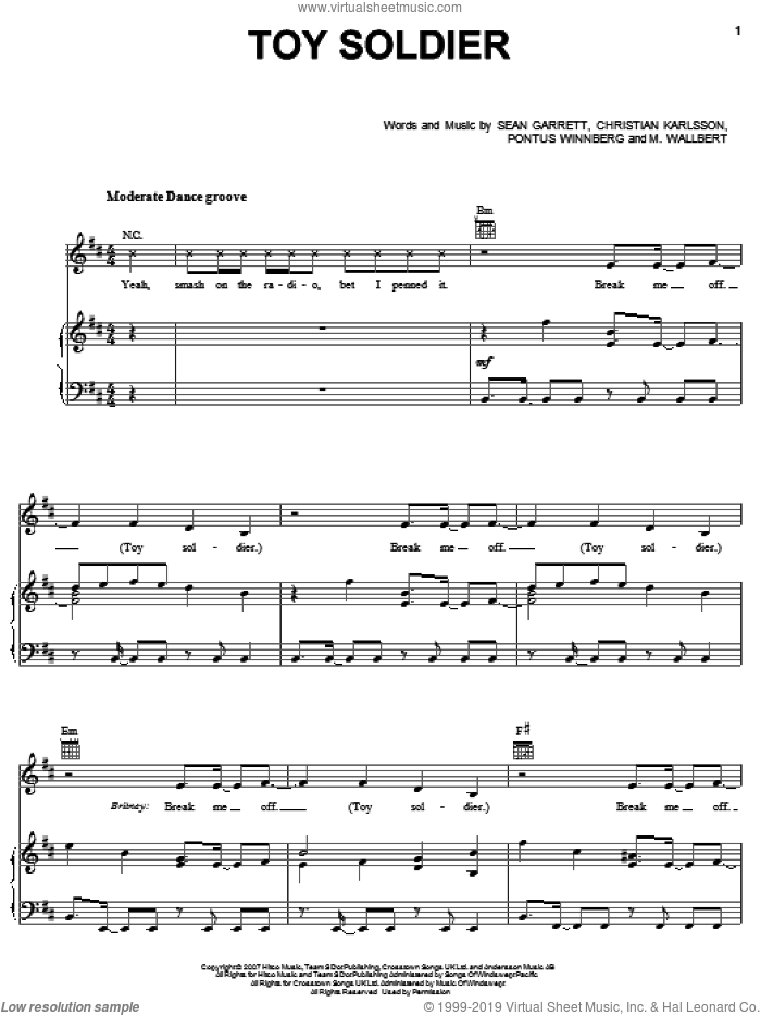 Toy Soldier sheet music for voice, piano or guitar by Sean Garrett, Britney Spears, Christian Karlsson and Pontus Winnberg. Score Image Preview.