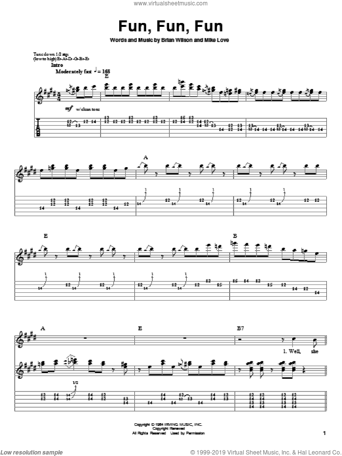 Fun, Fun, Fun sheet music for guitar (tablature, play-along) by Mike Love, The Beach Boys and Brian Wilson. Score Image Preview.