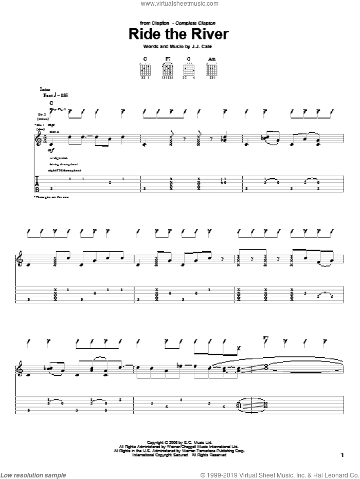 Ride The River sheet music for guitar (tablature) by Eric Clapton and John Cale, intermediate skill level