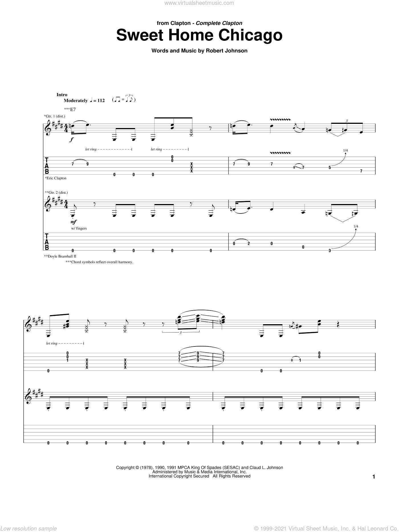 Sweet Home Chicago sheet music for guitar (tablature) by Eric Clapton, Blues Brothers and Robert Johnson, intermediate