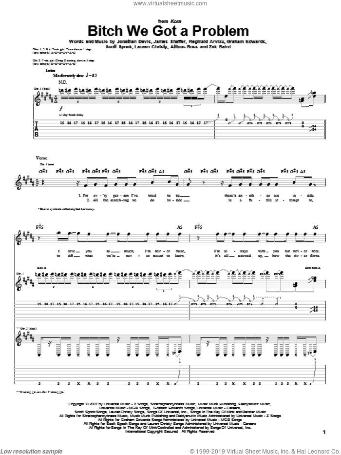 Bitch We Got A Problem sheet music for guitar (tablature) by Zak Baird