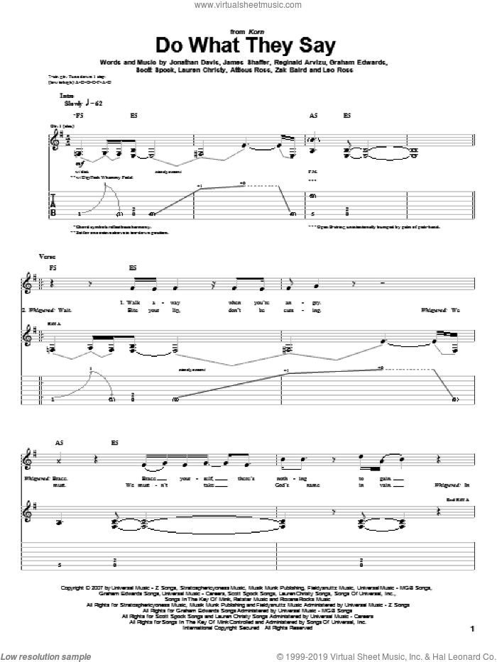 Do What They Say sheet music for guitar (tablature) by Zak Baird