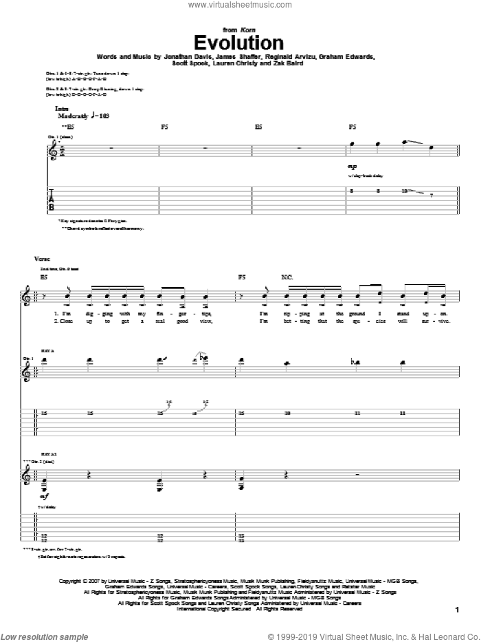 Evolution sheet music for guitar (tablature) by Korn, James Shaffer, Jonathan Davis and Reginald Arvizu. Score Image Preview.