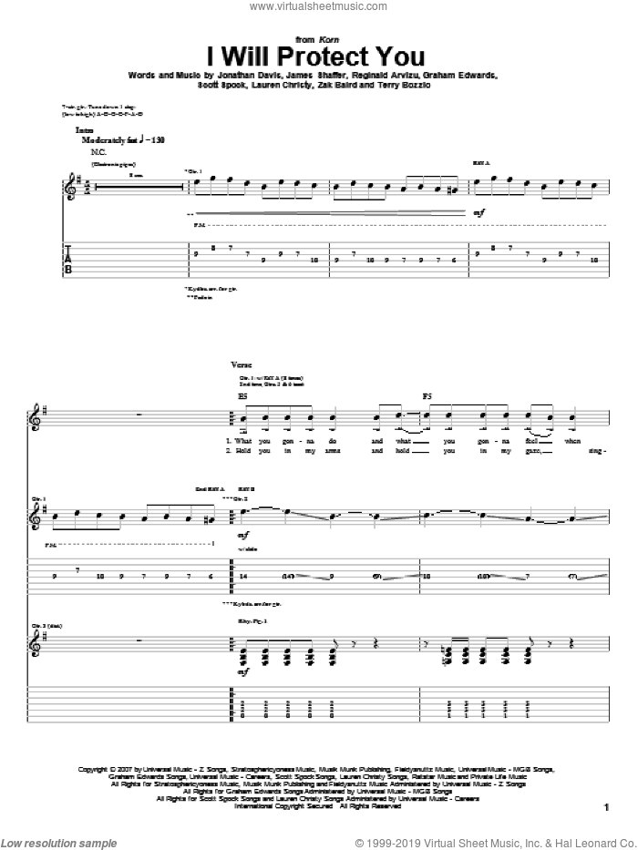 I Will Protect You sheet music for guitar (tablature) by Korn, James Shaffer, Jonathan Davis, Reginald Arvizu and Terry Bozzio, intermediate guitar (tablature). Score Image Preview.