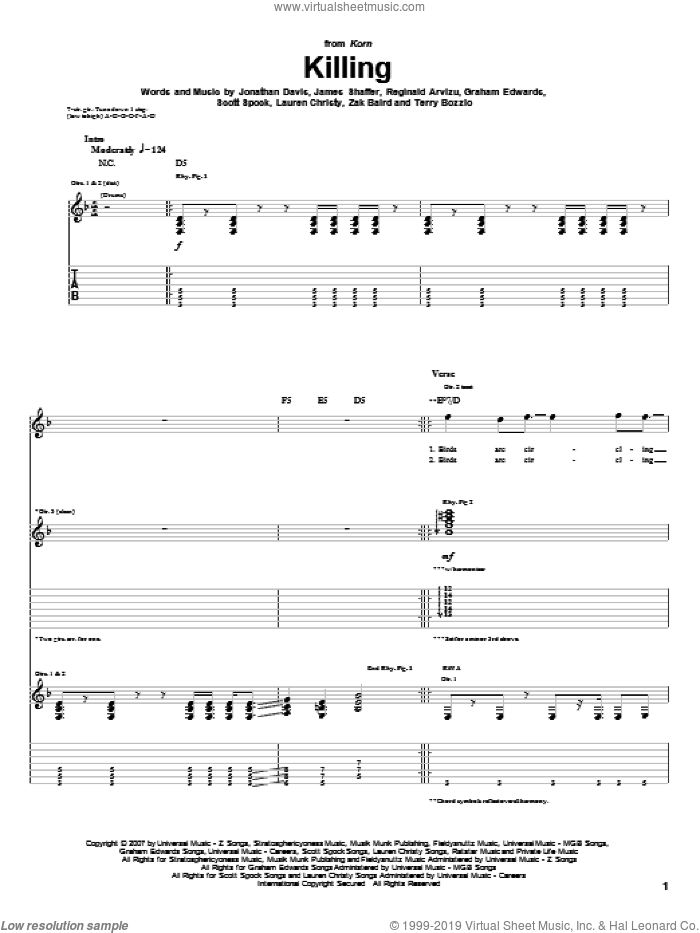 Killing sheet music for guitar (tablature) by Korn, Graham Edwards, James Shaffer, Jonathan Davis, Lauren Christy, Reginald Arvizu, Scott Spock, Terry Bozzio and Zak Baird, intermediate