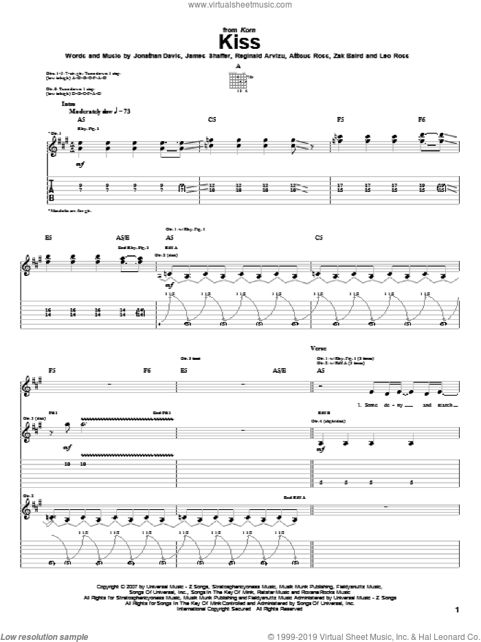 Kiss sheet music for guitar (tablature) by Zak Baird