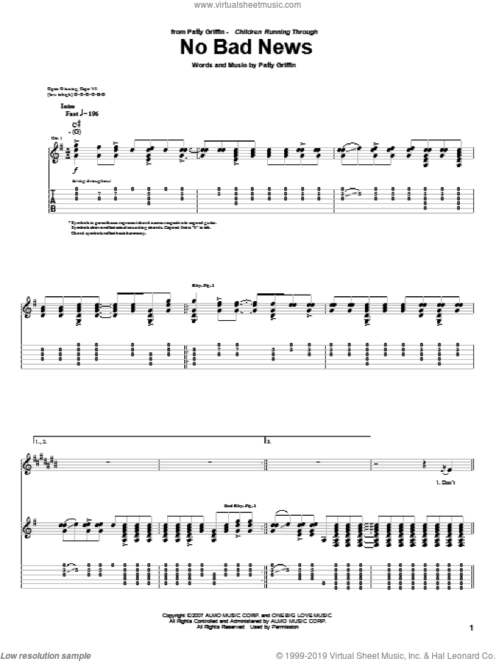 No Bad News sheet music for guitar (tablature) by Patty Griffin. Score Image Preview.