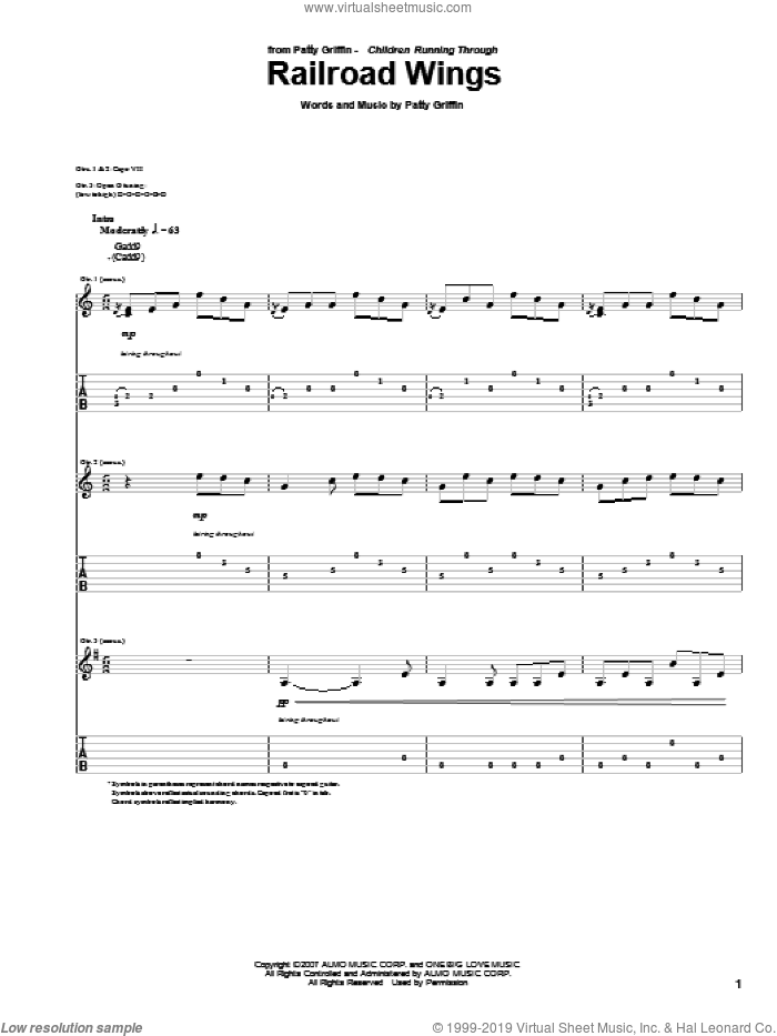 Railroad Wings sheet music for guitar (tablature) by Patty Griffin. Score Image Preview.