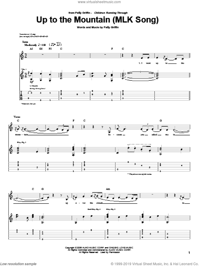 Up To The Mountain (MLK Song) sheet music for guitar (tablature) by Patty Griffin, intermediate skill level