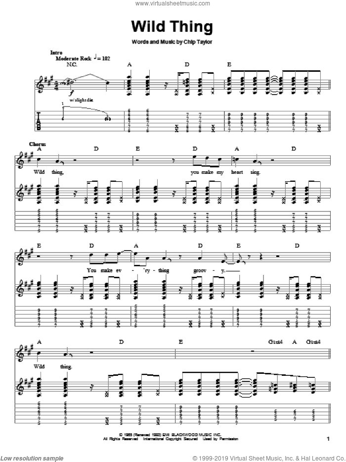 Wild Thing sheet music for guitar (tablature, play-along) by The Troggs, Jimi Hendrix and Chip Taylor, intermediate. Score Image Preview.