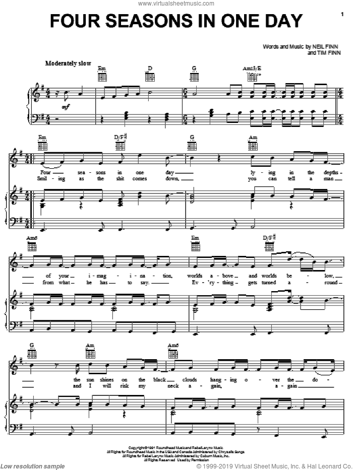 Four Seasons In One Day sheet music for voice, piano or guitar by Crowded House, Neil Finn and Tim Finn, intermediate voice, piano or guitar. Score Image Preview.