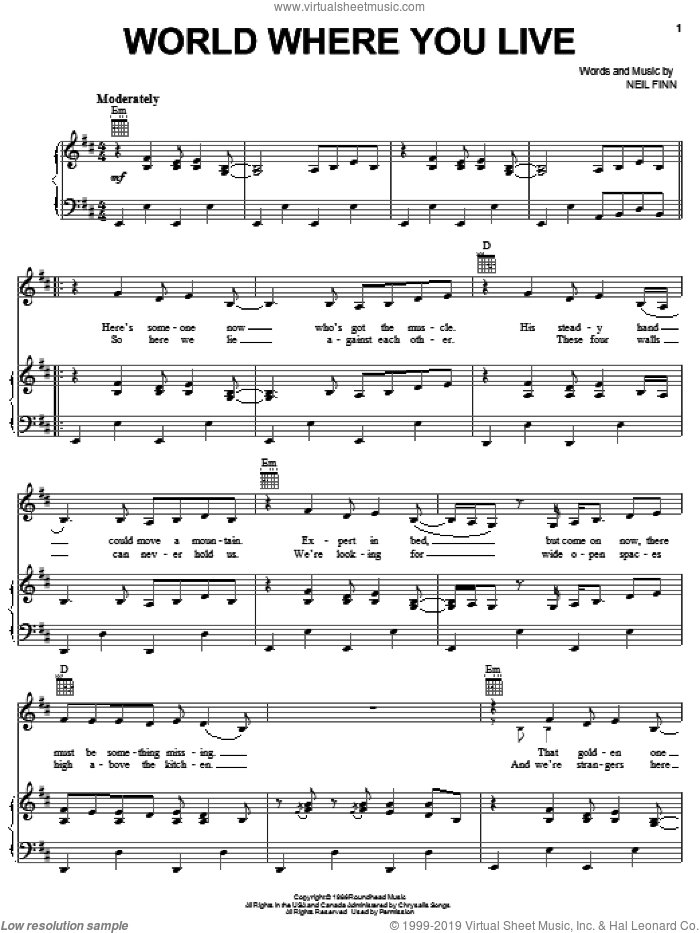 World Where You Live sheet music for voice, piano or guitar by Neil Finn and Crowded House. Score Image Preview.