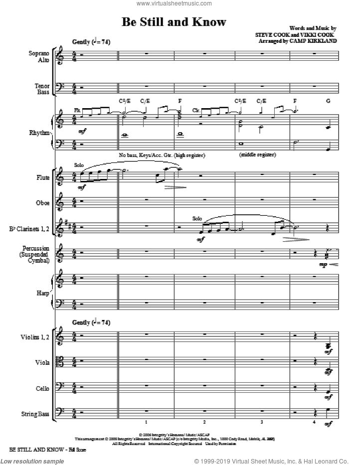 Be Still And Know (COMPLETE) sheet music for orchestra/band (Orchestra) by Vikki Cook, Steve Cook and Camp Kirkland, intermediate. Score Image Preview.