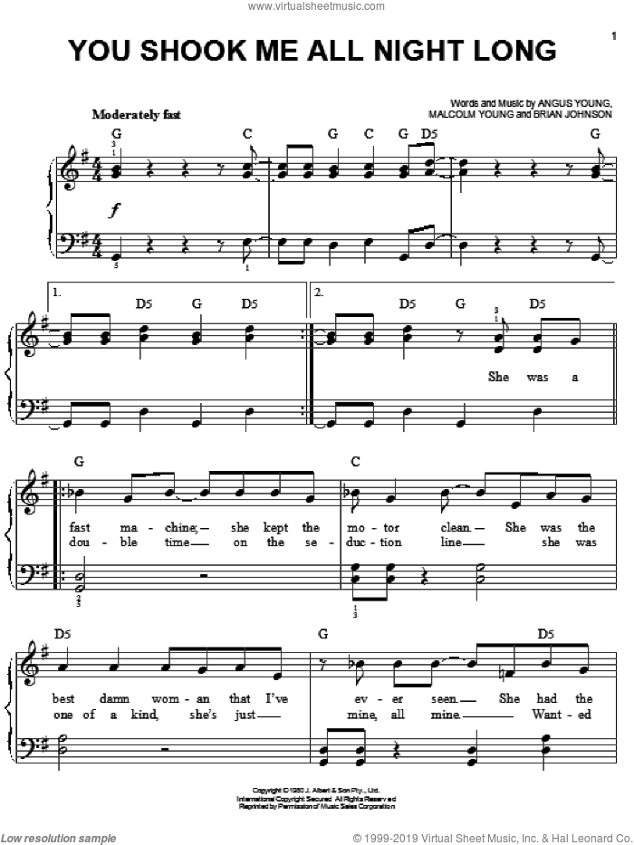 You Shook Me All Night Long sheet music for piano solo by AC/DC, Angus Young, Brian Johnson and Malcolm Young, easy skill level