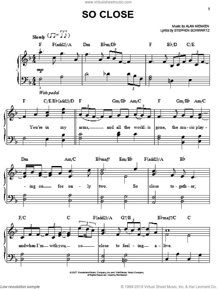 So Close sheet music for piano solo by Alan Menken, Enchanted (Movie), John McLaughlin and Stephen Schwartz, easy skill level