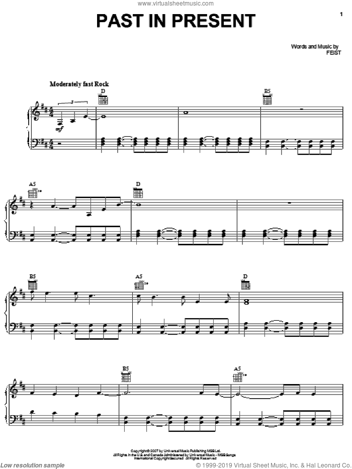 Past In Present sheet music for voice, piano or guitar by Leslie Feist. Score Image Preview.