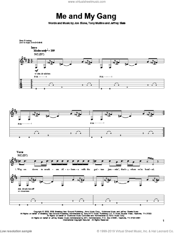 Me And My Gang sheet music for guitar (tablature, play-along) by Tony Mullins, Rascal Flatts, Jeffrey Steele and Jon Stone. Score Image Preview.