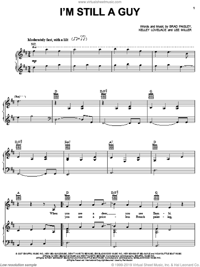 I'm Still A Guy sheet music for voice, piano or guitar by Lee Thomas Miller, Brad Paisley and Kelley Lovelace. Score Image Preview.