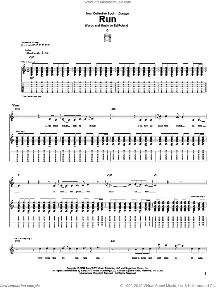 Run sheet music for guitar (tablature) by Collective Soul and Ed Roland, intermediate skill level