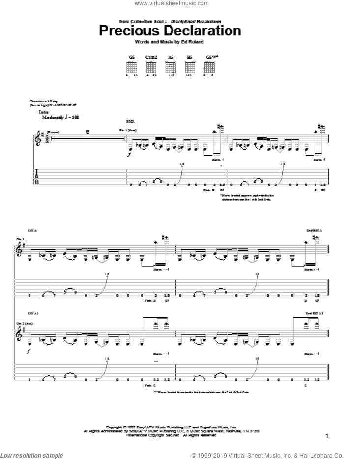 Precious Declaration sheet music for guitar (tablature) by Collective Soul and Ed Roland, intermediate skill level