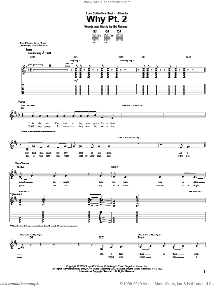 Why Pt. 2 sheet music for guitar (tablature) by Ed Roland and Collective Soul. Score Image Preview.
