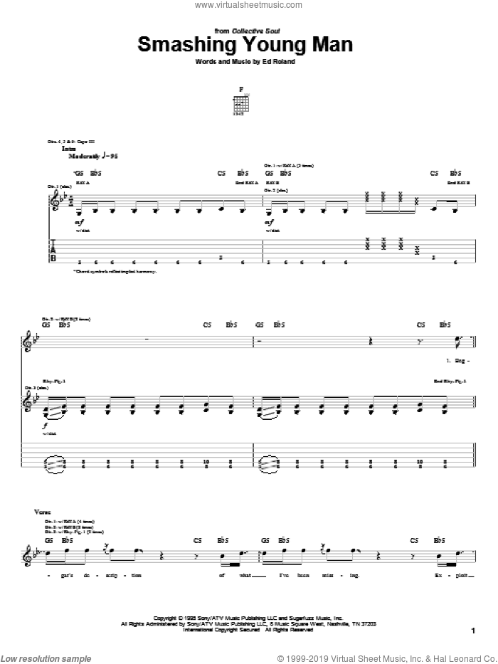 Smashing Young Man sheet music for guitar (tablature) by Collective Soul and Ed Roland, intermediate. Score Image Preview.