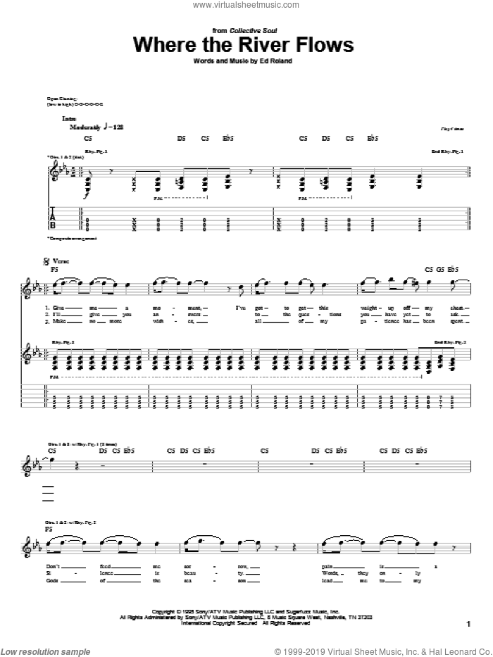 Where The River Flows sheet music for guitar (tablature) by Collective Soul and Ed Roland, intermediate skill level