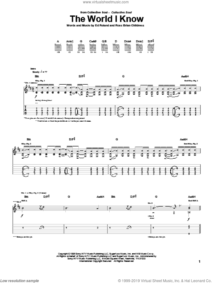 The World I Know sheet music for guitar (tablature) by Collective Soul, Ed Roland and Ross Childress, intermediate skill level