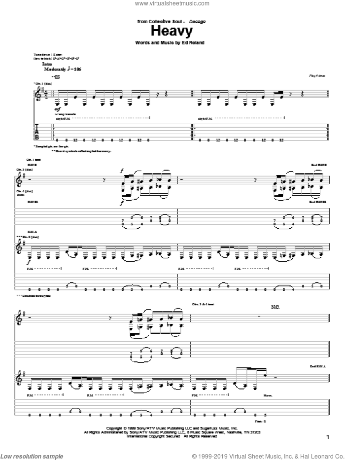 Heavy sheet music for guitar (tablature) by Collective Soul and Ed Roland, intermediate guitar (tablature). Score Image Preview.