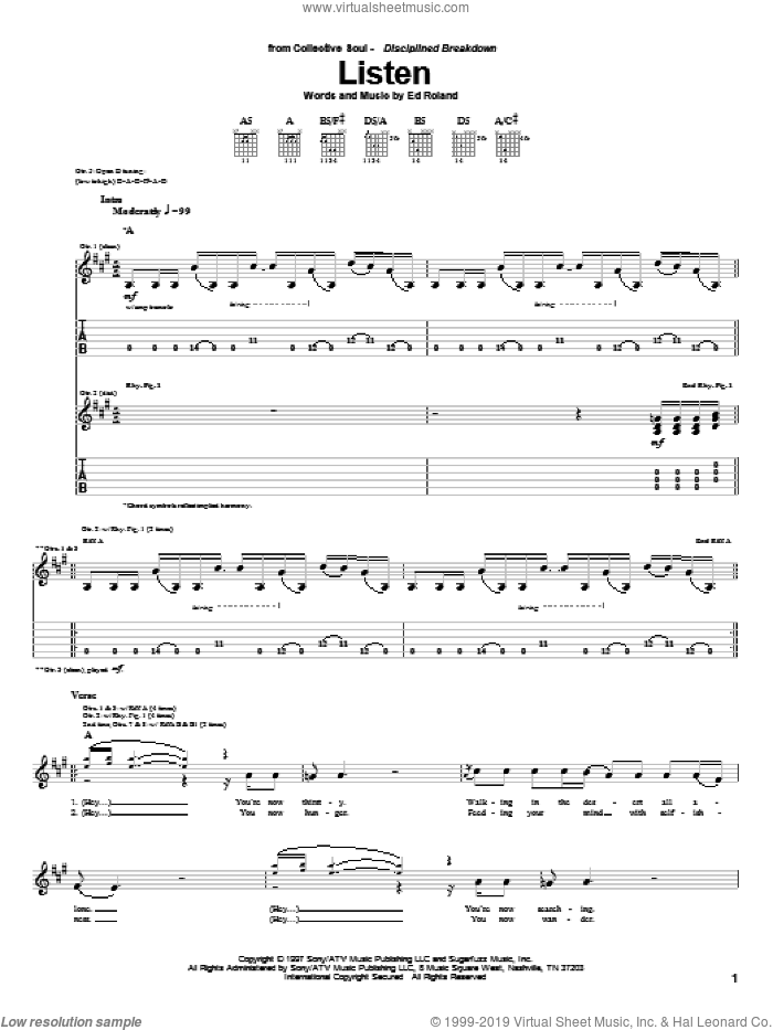 Listen sheet music for guitar (tablature) by Collective Soul and Ed Roland, intermediate skill level