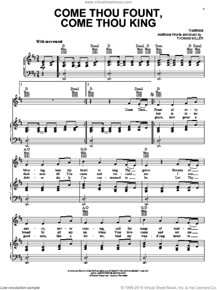 Come Thou Fount, Come Thou King sheet music for voice, piano or guitar by Gateway Worship, Miscellaneous and Thomas Miller, intermediate skill level