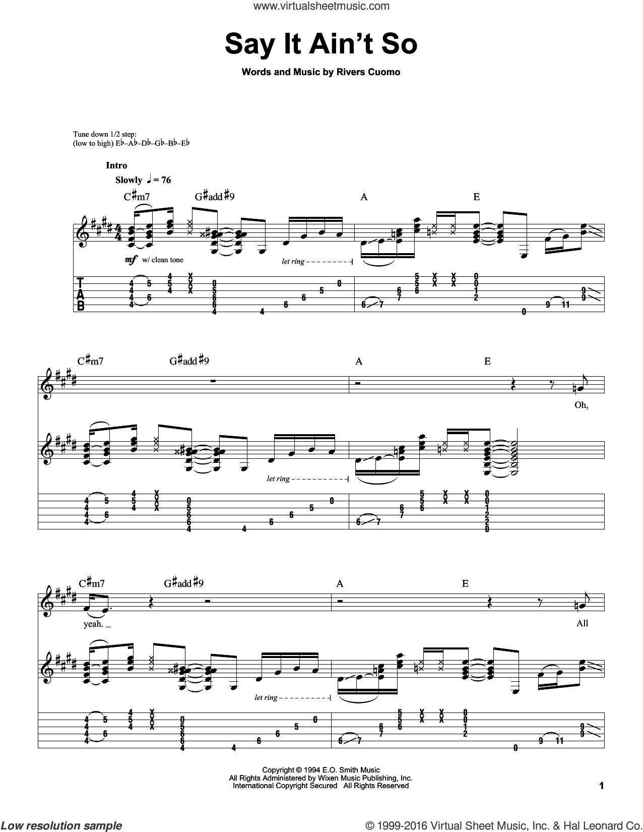 Say It Ain't So sheet music for guitar (tablature, play-along) by Weezer. Score Image Preview.