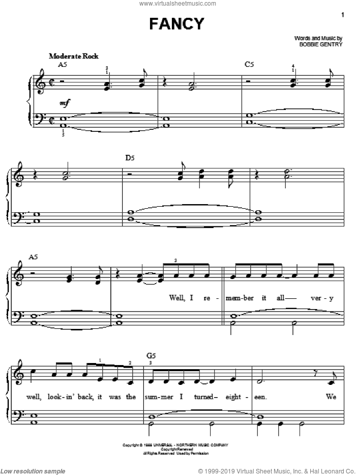 Fancy sheet music for piano solo by Bobbie Gentry and Reba McEntire. Score Image Preview.