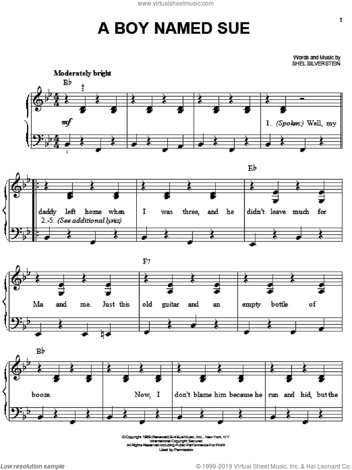 A Boy Named Sue sheet music for piano solo by Johnny Cash and Shel Silverstein, easy. Score Image Preview.