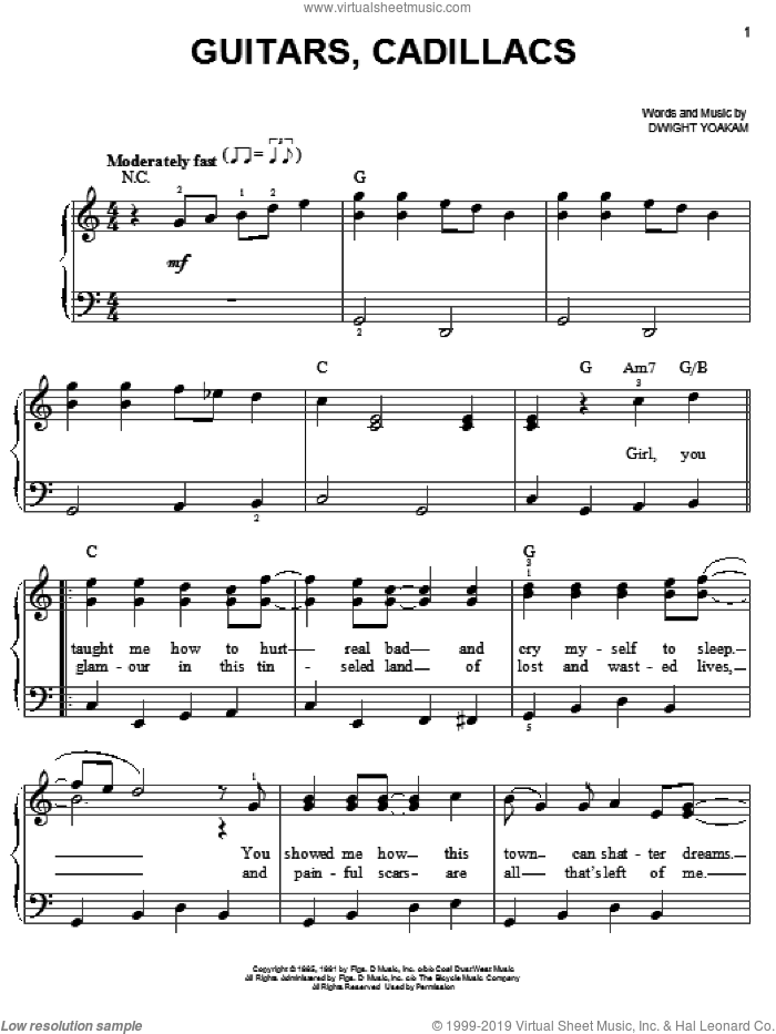 Guitars, Cadillacs sheet music for piano solo by Dwight Yoakam, easy skill level