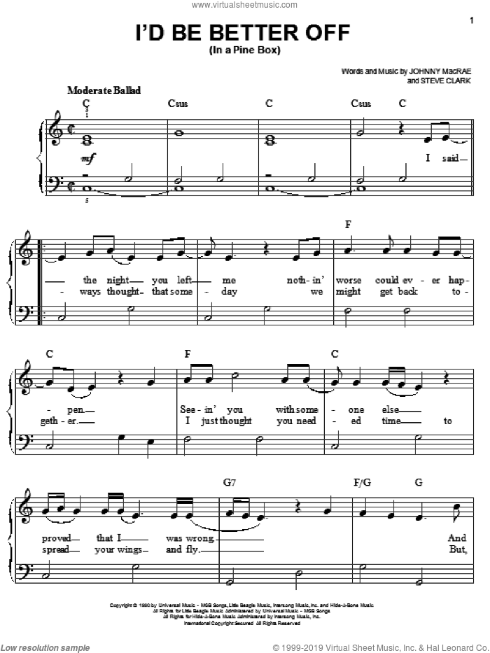 I'd Be Better Off (In A Pine Box) sheet music for piano solo by Doug Stone, Johnny MacRae and Steve Clark, easy skill level