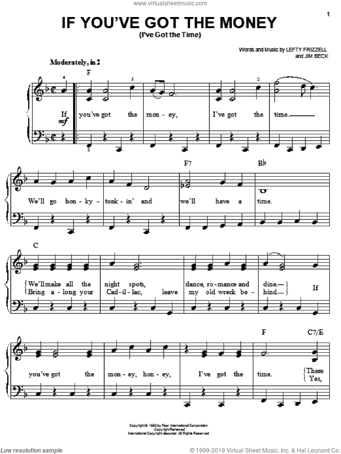 If You've Got The Money (I've Got The Time) sheet music for piano solo by Jim Beck, Willie Nelson and Lefty Frizzell. Score Image Preview.