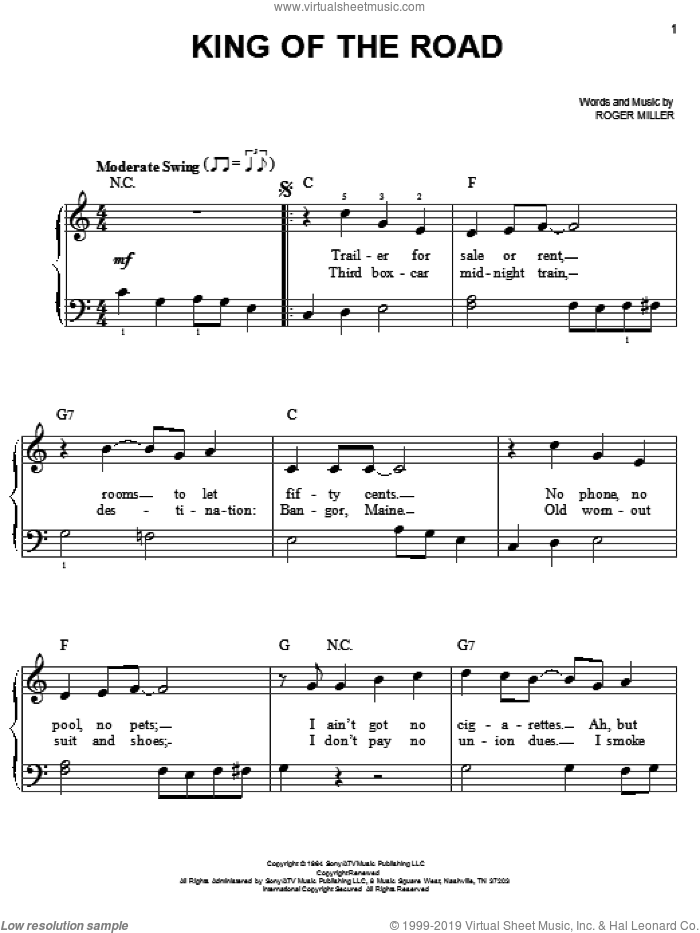King Of The Road sheet music for piano solo by Roger Miller and Randy Travis, beginner skill level